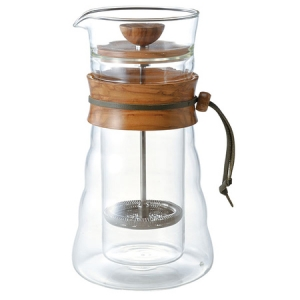 Hario Cafe Press Double Glass - Olive Wood - 600 ml